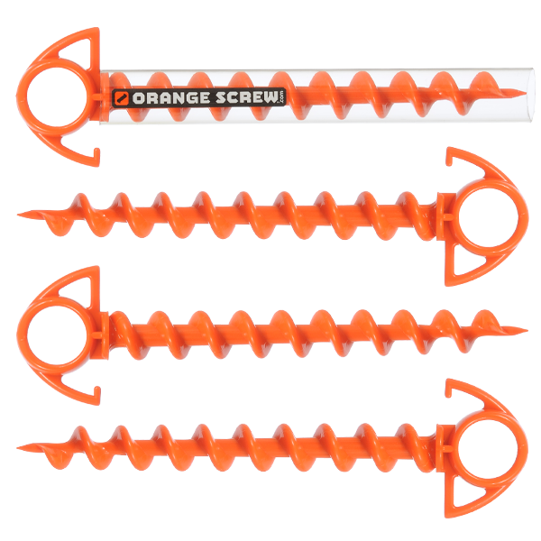 Orange Screw Ground Anchor Set