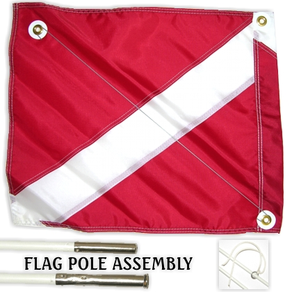 20x24 Diver Down Flag w/ 6ft Pole, red - Click Image to Close