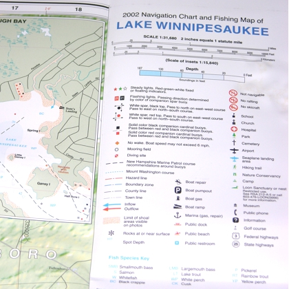 Lake Winnipesaukee Waterproof Chart TKNMAPLRA1 895