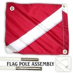 20x24 Diver Down Flag w/ 6ft Pole, red