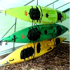 Three Kayak Hanging Storage Rack